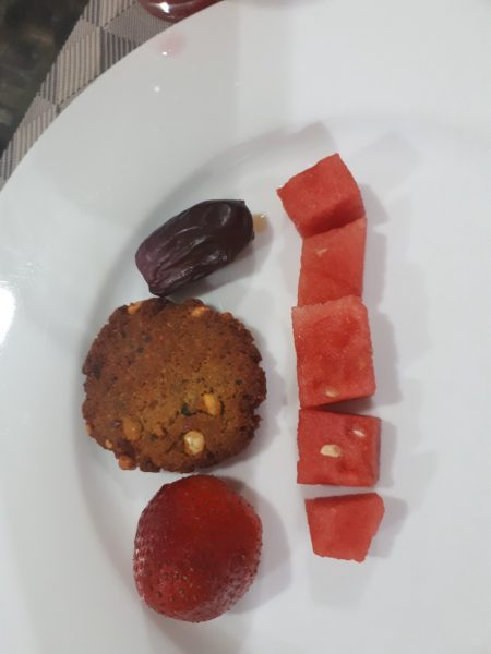 dates, dal wada (like a falafel) strawberry and watermelon