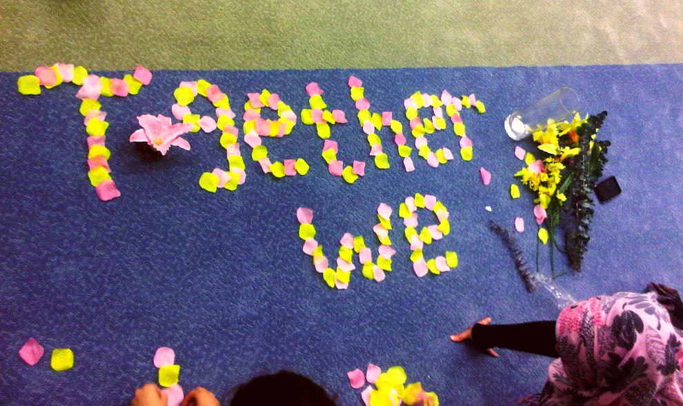 26 - Together We Flourish stop motion flower petal video recording at Rose City Islamic Centre Monday July 15 2013
