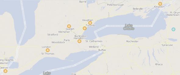 30Masjids Ontario Ramadan 2013 map initial
