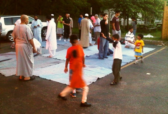 Adhan al Maghrib concluding Outside for Brothers, Chatham - Saturday July 13 2013