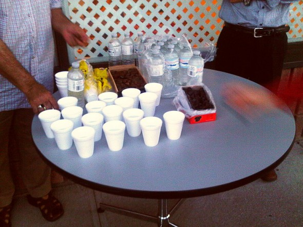 Brothers Iftar Table outside with water and dates ready, Chatham - Saturday July 13 2013
