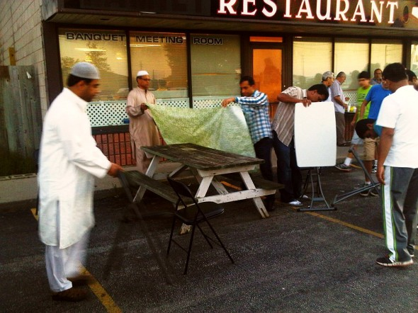 Brothers setting up Iftar Tables for brothers to eat outside, Chatham - Saturday July 13 2013