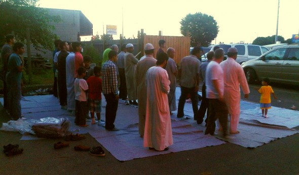Brothers standing for Maghrib, Chatham - Saturday July 13 2013