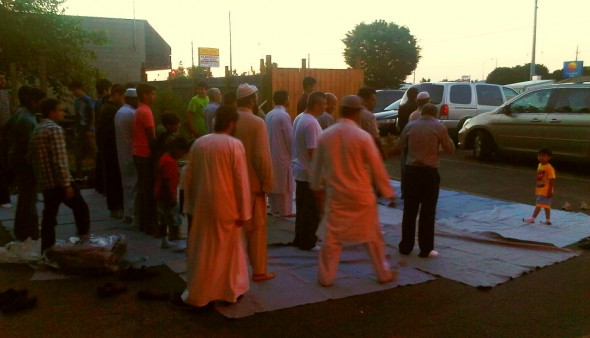 Brothers standing ready for Maghrib, Chatham - Saturday July 13 2013