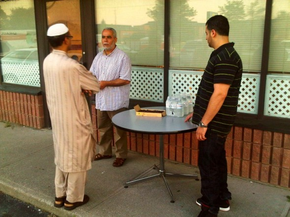 Brothers waiting for maghrib outside chatting in Chatham - Saturday July 13 2013