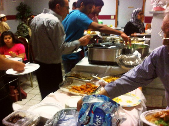 Iftar Pot-Luck Serving Table, Chatham - Saturday July 13 2013