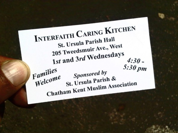 Interfaith Caring Kitchen business card front Chatham, Saturday July 13 2013