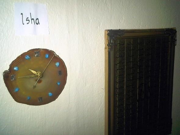 Isha clock in cut rock, Chatham Kent Muslim Association Musallah, Saturday July 13 2013