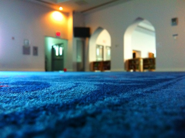 London Muslim Mosque sisters prayer space carpet point of view photo by Aksa Mahmood for 30 Masjids Friday July 12 2012