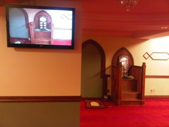 Night 1 - Masjid Toronto at Adelaide mimbar and hanging wall television Monday July 8 2013