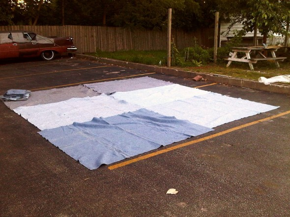 U-Haul moving blankets create Chatham Outside Maghrib Prayer space for Brothers - Saturday July 13 2013