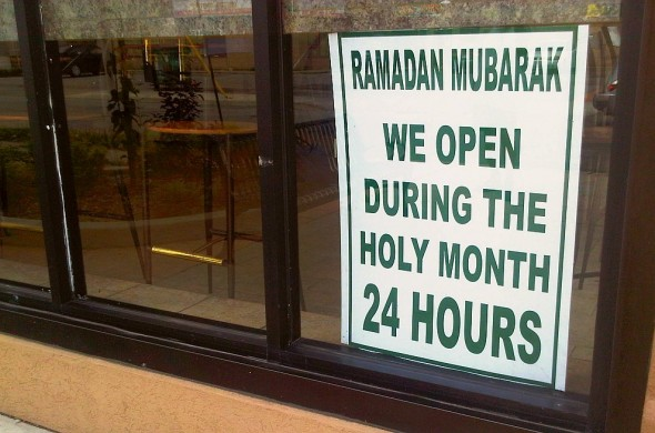 we are open 24 hours during ramadan, sign in Babur 2 halal restaurant on Wyandotte Street East, Windsor - Friday July 19 2013