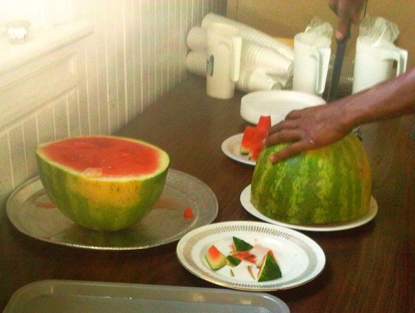00 - Cutting Watermelon slices for Iftar Plate, Islam Care Centre, Ottawa - Wednesday July 31 2013