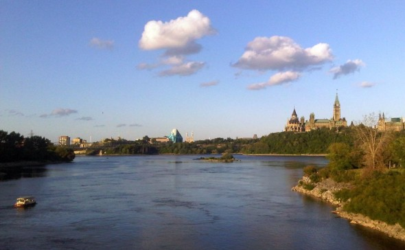 01 - Crossing Bridge from Ontario into Quebec, looking at Ottawa River and Parliament Hill - Tuesday July 30 2013