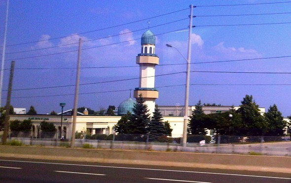 01 - Passing ISNA Canada Headquarters, as seen from GO Transit Bus on QEW, en route to Hamilton - Wednesday August 7 2013