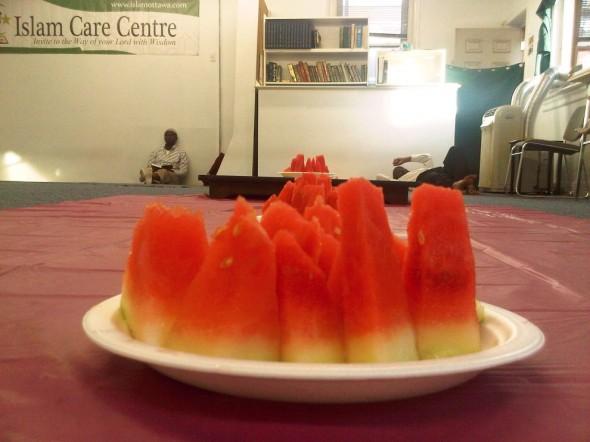 01 - Watermelon Iftar Plate, Islam Care Centre, Ottawa - Wednesday July 31 2013