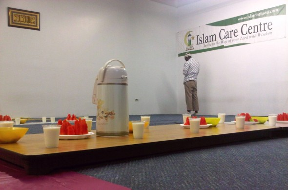 02 - Table top on floor with Iftar Plates, Islam Care Centre, Ottawa - Wednesday July 31 2013
