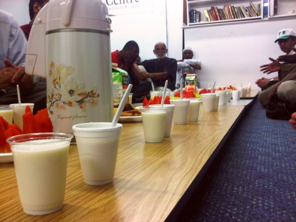 05 - Cups of Milk lined up with Iftar Plates, Islam Care Centre, Ottawa - Wednesday July 31 2013