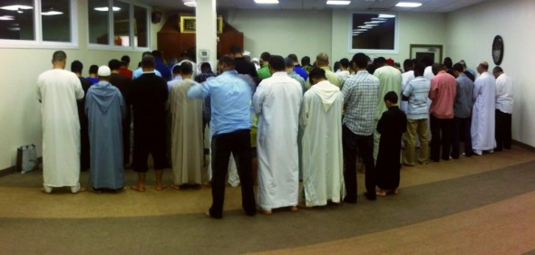 06 - Lining up for Isha Prayer, The Mosque of Aylmer, Quebec - Tuesday July 30 2013