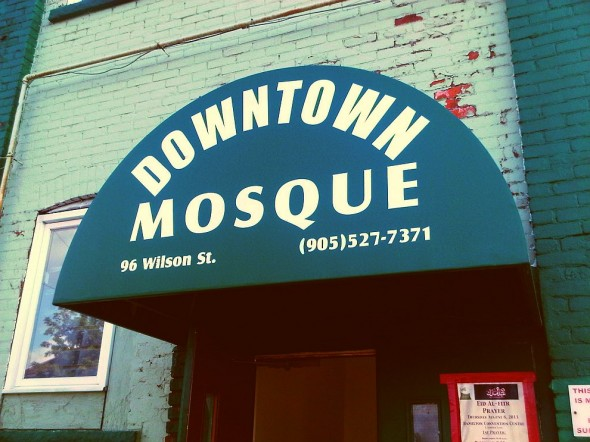 07 - Hamilton Downtown Mosque - Awning above Front Entrance Steps - Wednesday August 7 2013