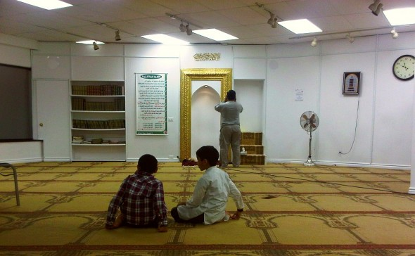 07 - Ibrahim Jam-E Mosque, Two Boys sit and listen to Adhan al Isha being Called, Hamilton Ontario - Wednesday August 7 2013
