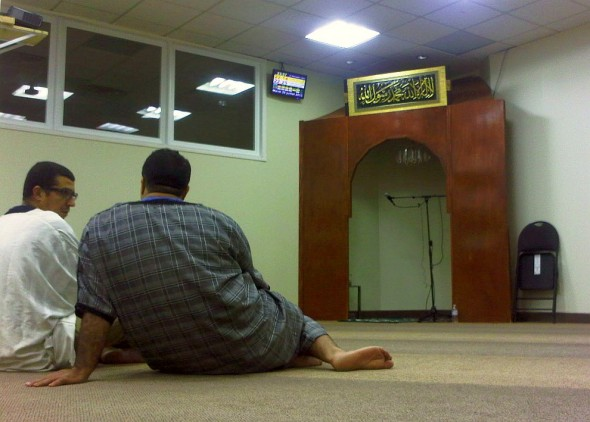 09 - Sitting in the Prayer Hall after Taraweeh, Wooden Mihrab in corner, The Mosque of Aylmer, Quebec - Tuesday July 30 2013