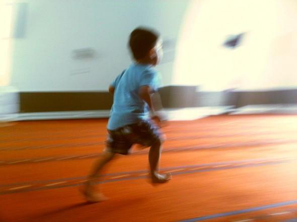 11 - Child running in Main Prayer Hall, Ottawa Main Mosque, Jumah Friday August 2 2013