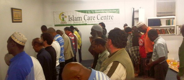 12 - Iqama for Salat al Maghrib, Lined up for after Sunset Prayer, Islam Care Centre, Ottawa - Wednesday July 31 2013
