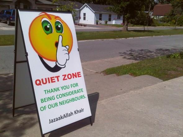 13 - Quiet Zone Sandwich Sign, Ottawa Main Mosque, Jumah Friday August 2 2013