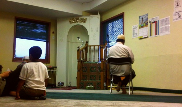 18 - Main Prayer Hall waiting for Maghrib and end of Ramadan, Hamilton Downtown Mosque - Wednesday August 7 2013