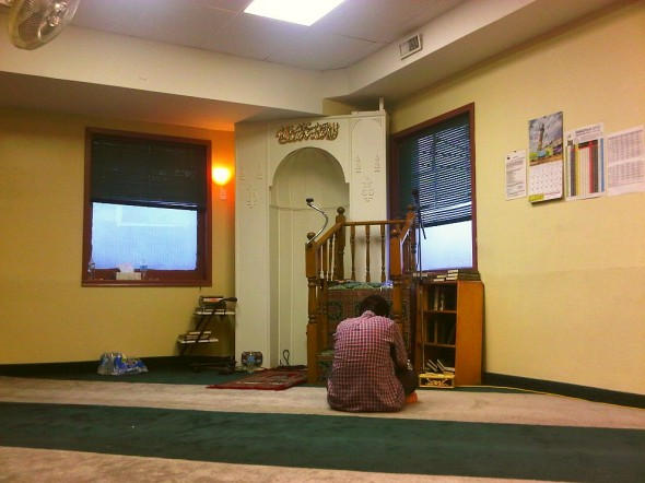 20 - Main Prayer Hall waiting for Maghrib and end of Ramadan, Hamilton Downtown Mosque - Wednesday August 7 2013