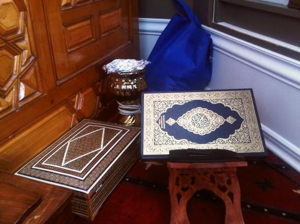 23 - Qur'an at bottom of and beside Mimbar, Jumah Khutbah, Ottawa Main Mosque, Jumah Friday August 2 2013