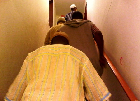 26 - Rushing upstairs to pray Salat al Maghrib, Hamilton Downtown Mosque - Wednesday August 7 2013