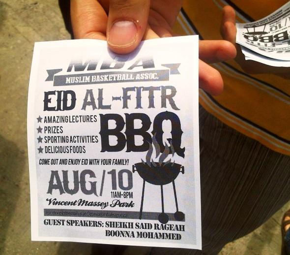28 - Muslim Basketball Association BBQ Flyer, Ottawa Main Mosque, Jumah Friday August 2 2013