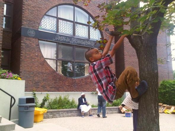 33 - Climbing a Tree after Jumah Prayers, Ottawa Main Mosque, Jumah Friday August 2 2013