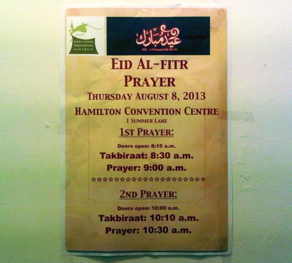 36 - Eid al Fitr Prayer at Hamilton Convention Centre Poster, Hamilton Downtown Mosque - Wednesday August 7 2013