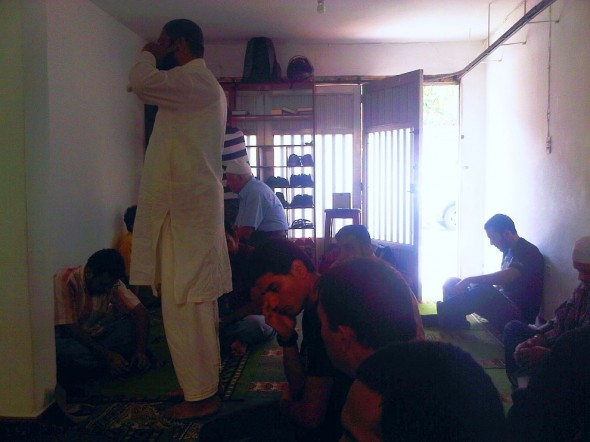 Adhan al Jumah Iqama Call to Stand in Line for Friday Prayer Salat al Jumah in Masjid in Medellin Colombia 2014-03-21-50021