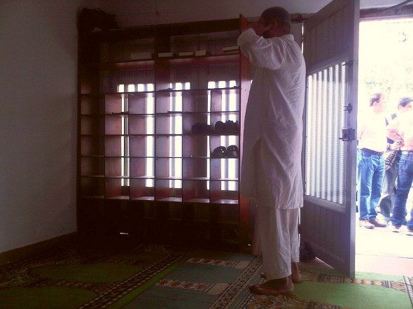 Azar making Adhan Al Jumah Friday Call to Prayer inside Masjid Medellin Colombia 2014-03-21-50006