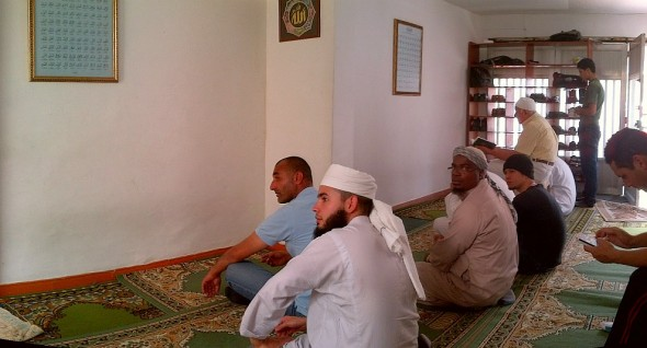 Brother Abdul Haq Founder of Medellin's First Masjid looks back at the Photographer as i take this photo Friday March 28 2014