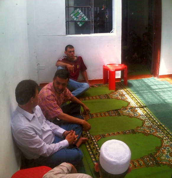 Brothers Relaxing after Salat al Jumah Friday Prayer in Masjid in Medellin Colombia 2014-03-21-50025