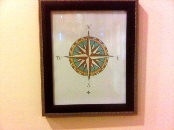 Cardinal Direction Compass on wall of Charlotte Douglas Airport Chapel 2014-03-16-49196