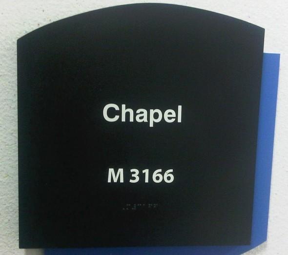 Chapel M 3166 in Braille outside Charlotte Douglas Airport Chapel Door 2014-03-16-49212