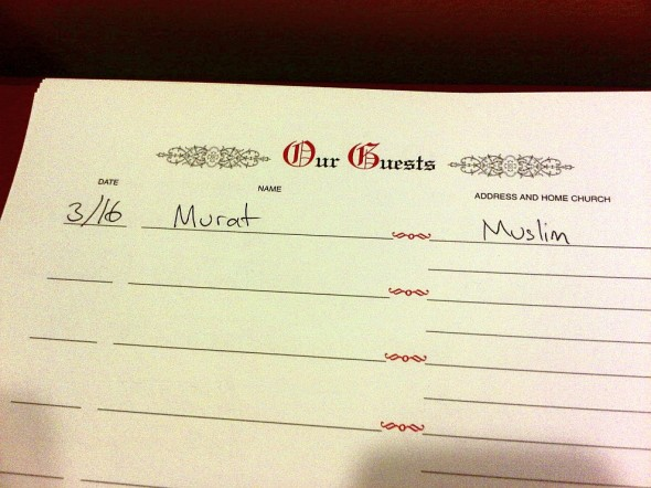 Guestbook in Charlotte Douglas Airport Chapel signed by Murat 2014-03-16-49203