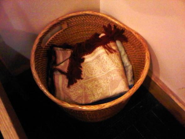 Prayer Mats in Basket in corner of Charlotte Douglas Airport Chapel 2014-03-16-49195