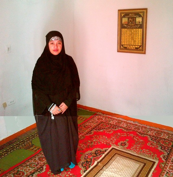 Sister-Rania-in-Women's-room of the only Masjid in Medellin Colombia after Jumah Friday March 28 2014