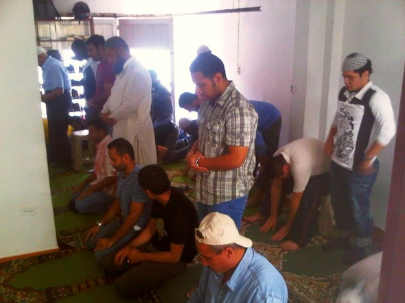 Sunnah Prayers after Salat al Jumah Friday Prayer in Masjid in Medellin Colombia 2014-03-21-50025