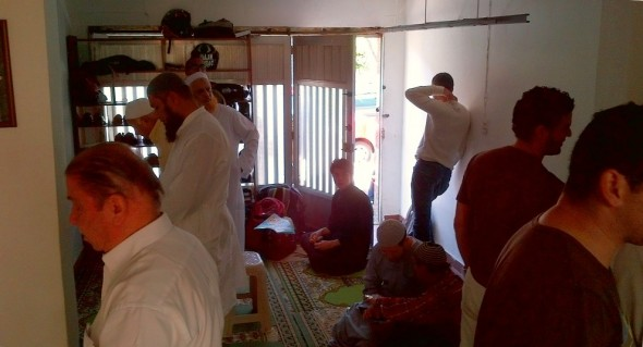 Sunnah Prayers inside Medellin's Only Masjid after Salat al Jumah Friday March 28 2014
