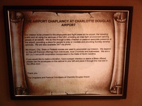 The Airport Chaplaincy at Charlotte Douglas Airport 20140-3-16-49208