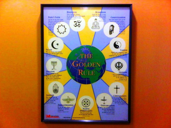 The Golden Rule Multi-Faith Poster on wall of Charlotte Douglas Airport Chapel 2014-03-16-49197