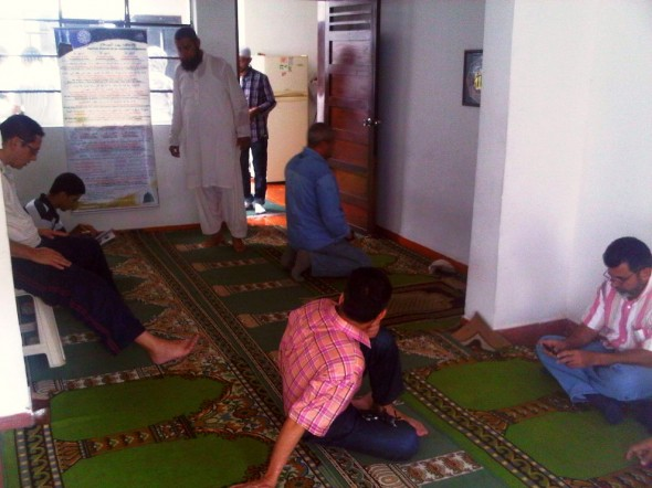 Worshippers begin arriving and filling up Masjid in Medellin Colombia before Salat al Jumah Friday Prayer 2014-03-21-50014